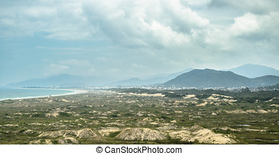 Landscape: Green vegetation growing on sand banks, sea,...