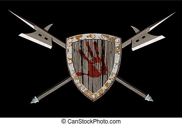 Shield with two halberds - wooden combat shield with the...