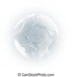 World globe with shadow on gray. Abstract global network connections, geometric design technology concept background. Chemistry pattern, molecule structure, connecting lines and dots.