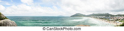 Panoramic view of Praia Brava beach in Florianopolis, Brazil