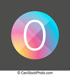 Number zero colorful button vector