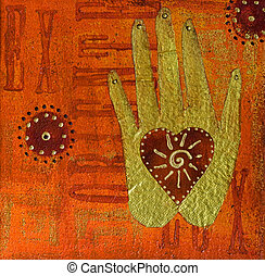 hand painting - collage painting with heart and hand,...