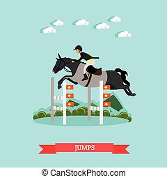 Jumps over barrier vector illustration in flat style -...