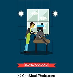 Metal cutting vector illustration in flat style - Vector...