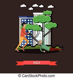 Outside help concept vector illustration in flat style -...