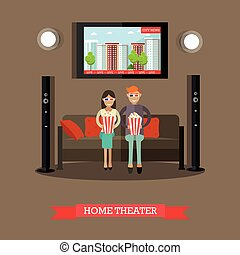 Home theater vector illustration in flat style - Vector...