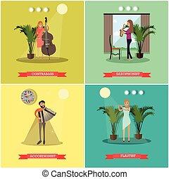 plat, ensemble, Instruments, jouer, vecteur, Musiciens,...
