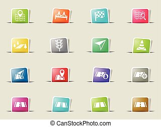 road icon set - road web icons on color paper bookmarks