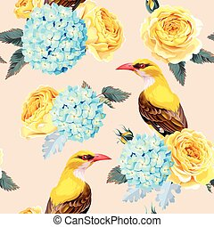 Roses and birds seamless - Yellow roses and birds vector...