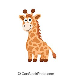 cartoon baby animal isolated - Adorable giraffe...