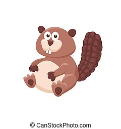 cartoon baby animal isolated - Adorable beaver illustration....