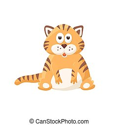 cartoon baby animal isolated - Adorable tiger illustration....