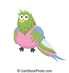 cartoon baby animal isolated - Adorable parrot illustration....