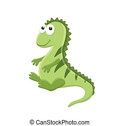 cartoon baby animal isolated - Adorable iguana illustration....