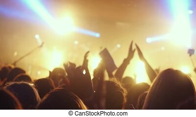 Fans waving their hands at a rock concert in slow motion in night club. 1920x1080