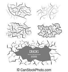 Cracks In The Ground Vector. 3D Illustration Isolated