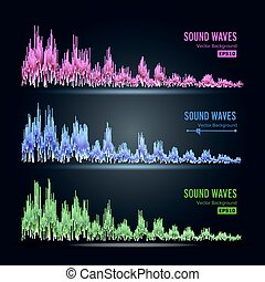 Music Sound Waves Pulse Abstract Vector. Synthesis And...