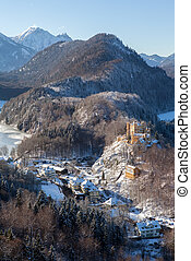 Panoramic view of a scenic winter Bavaria, Germany