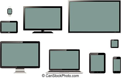Various modern electronic gadgets on isolated background