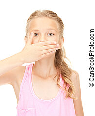 silence - bright picture of pretty girl with hand over mouth