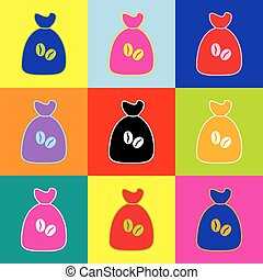 Coffee bag Icon. Coffee bag Vector. Coffee bag Icon Button. Vector. Pop-art style colorful icons set with 3 colors.