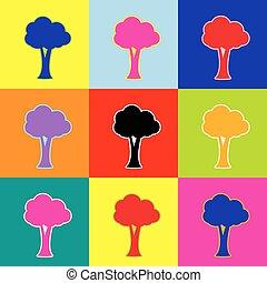 風格, 集合, 插圖, 鮮艷, 圖象, 樹, 簽署,  3, 顏色, 矢量,  pop-art