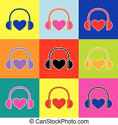 Headphones with heart. Vector. Pop-art style colorful icons set with 3 colors.