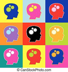 Thinking head sign. Vector. Pop-art style colorful icons set with 3 colors.