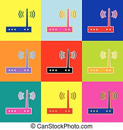 Wifi modem sign. Vector. Pop-art style colorful icons set...
