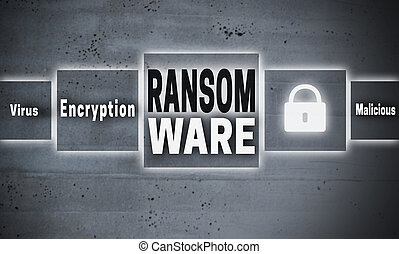 Ransomware touchscreen concept background.