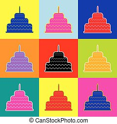 Cake with candle sign. Vector. Pop-art style colorful icons...
