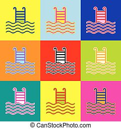 Swimming Pool sign. Vector. Pop-art style colorful icons set with 3 colors.