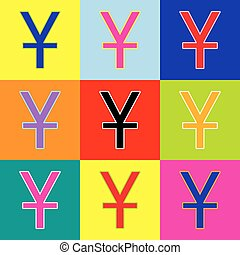 Chinese Yuan sign. Vector. Pop-art style colorful icons set with 3 colors.