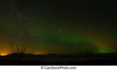 Aurora Borealis in Sweden. - Aurora Borealis with Night...
