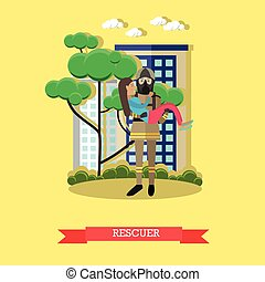 Rescuer vector illustration in flat style.