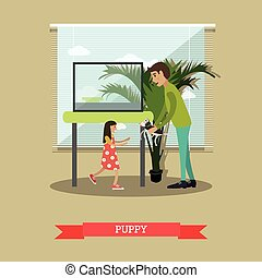 Buying a puppy vector illustration in flat style