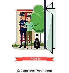 Vector flat illustration of policeman catching robber