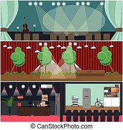 Vector set of opera house, cinema interior flat posters -...