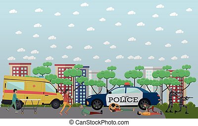Outside emergency help vector illustration in flat style -...