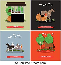 Vector set of horse riding concept posters in flat style -...