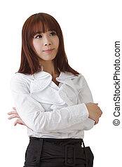 Successful Asian business woman with confident expression on...