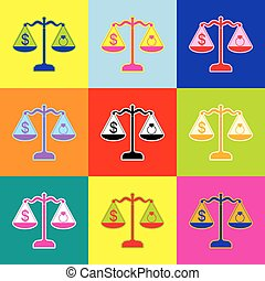 Ring jewelery and dollar symbol on scales. Vector. Pop-art style colorful icons set with 3 colors.