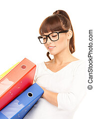 businesswoman with folders - picture of a young attractive...
