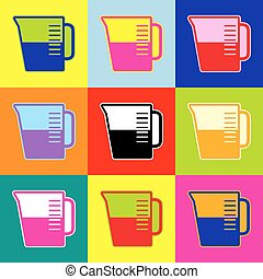 Beaker sign. Vector. Pop-art style colorful icons set with 3...