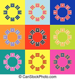 Bagua sign. Vector. Pop-art style colorful icons set with 3...