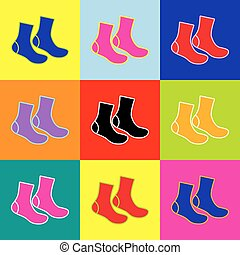 Socks sign. Vector. Pop-art style colorful icons set with 3...
