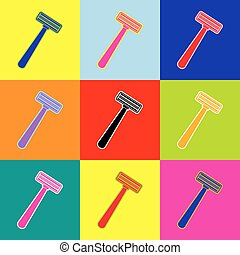 Safety razor sign. Vector. Pop-art style colorful icons set...