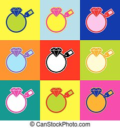 Diamond sign with tag. Vector. Pop-art style colorful icons set with 3 colors.