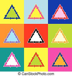 Plastic recycling symbol PVC 3 , Plastic recycling code PVC 3. Vector. Pop-art style colorful icons set with 3 colors.