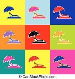Tropical resort beach. Sunbed Chair sign. Vector. Pop-art...